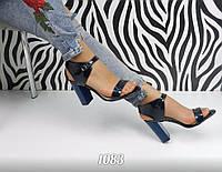 Женские красивые темно-синие босоножки 38 40