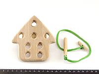 Деревянная игрушка Шнуровка Домик