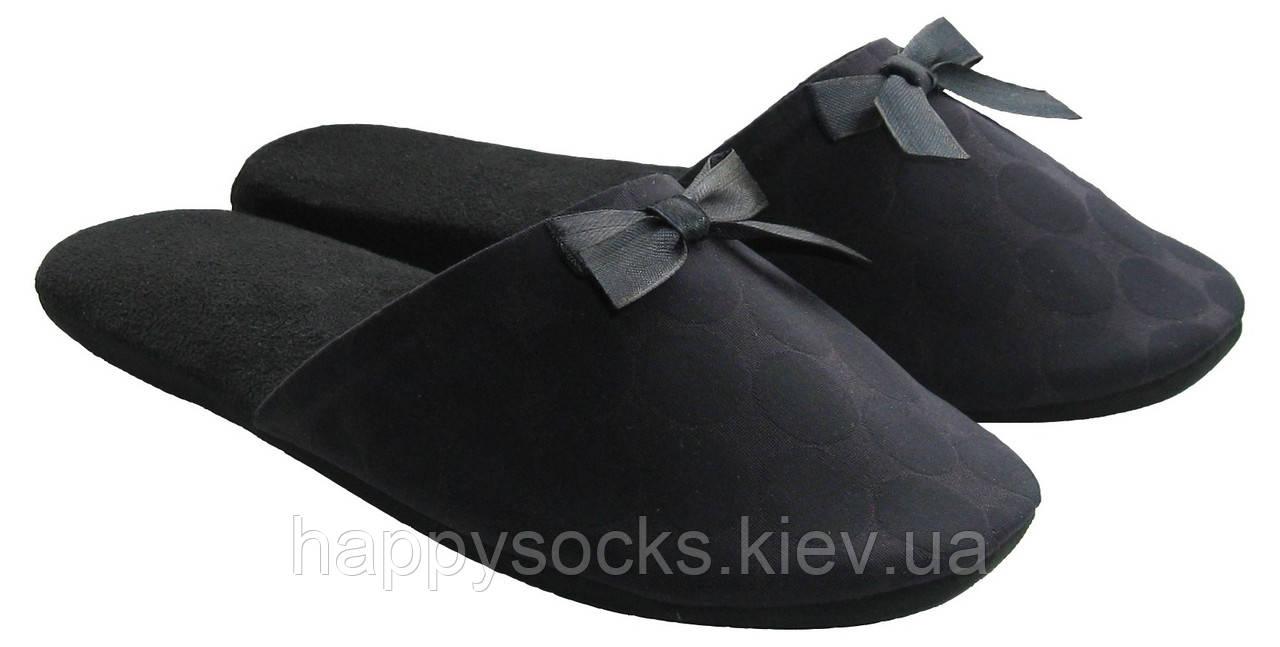"""Тапочки черного цвета комнатные в горошек женские тм """"Sharming"""""""