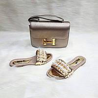 Набор серебро сумочка + босоножки-шлепанцы