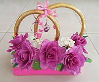 """Свадебные кольца для авто """"Фиолетовые розы"""" (прямоугольная основа) с магнитами"""