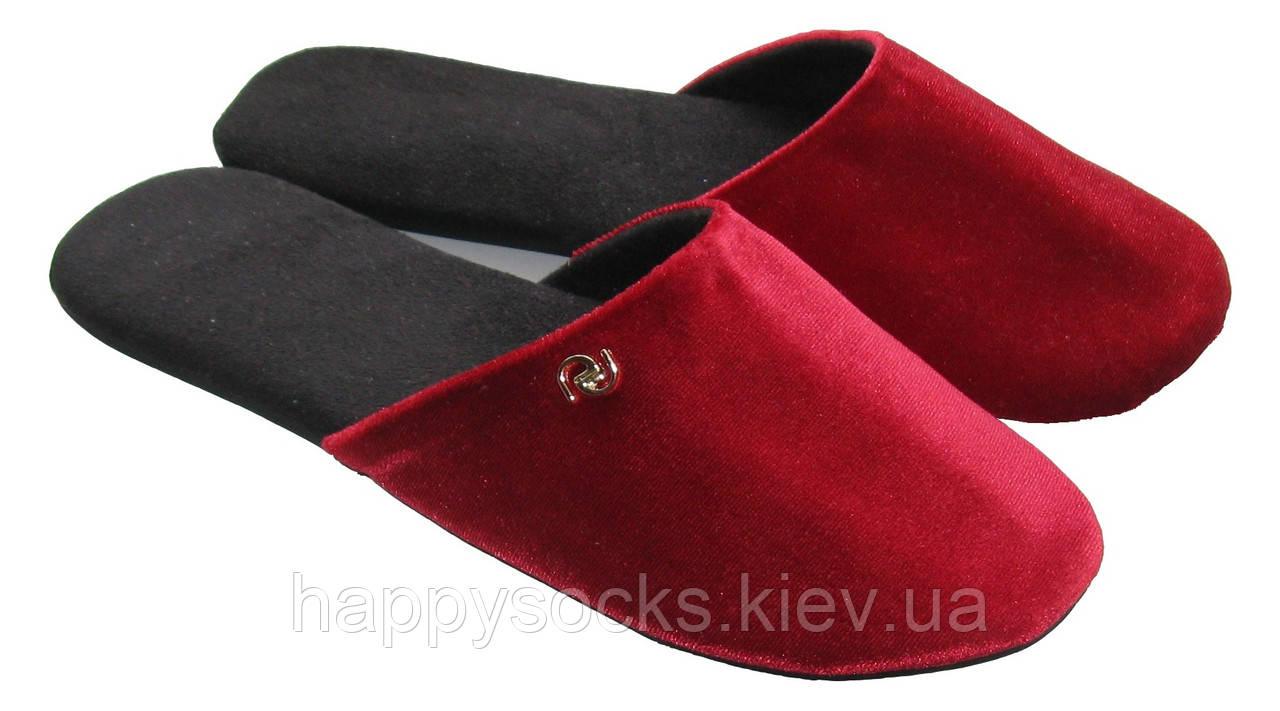 """Тапочки комнатные красного цвета женские с металлическим декором тм """"Sharming"""""""