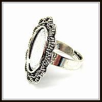 """Кольцо-сеттинг """"овал"""" серебро (2,4х2,9 размер регулируется) 2 шт в уп."""