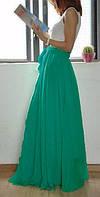 Бирюзовая шифоновая юбка в пол