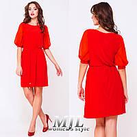 Красное легкое платье с поясом Виталина