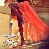 Оранжевая шифоновая юбка в пол