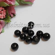 Бусины под жемчуг керамические, 8 мм, черный (10 шт)