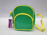 Сумка детская силиконовая с ремешком через плечо зелёного цвета с лимонной отделкой