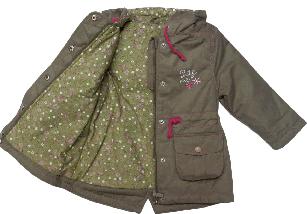 Куртка парка демисезонная с капюшоном для девочки ТМ Bembi КТ124 хаки размер 74, фото 3