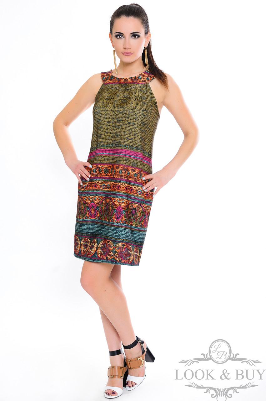 """Платье в этническом стиле """"Клео"""" мозаика малина"""