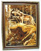 "Картина ""Волки пара"", панно из янтаря в подарок"