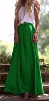 Зелёная шифоновая юбка в пол