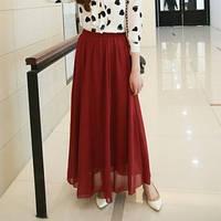 Бордовая шифоновая юбка в пол
