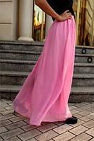 Розовая шифоновая юбка в пол