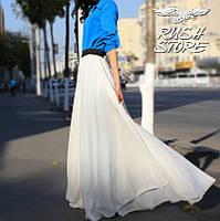 Белая шифоновая юбка в пол