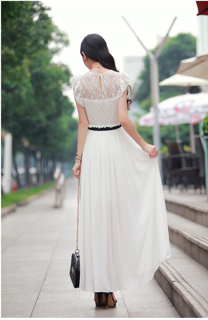 Шифоновая юбка в пол белая