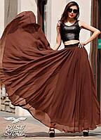 Коричневая шифоновая юбка в пол