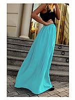 Голубая шифоновая юбка в пол