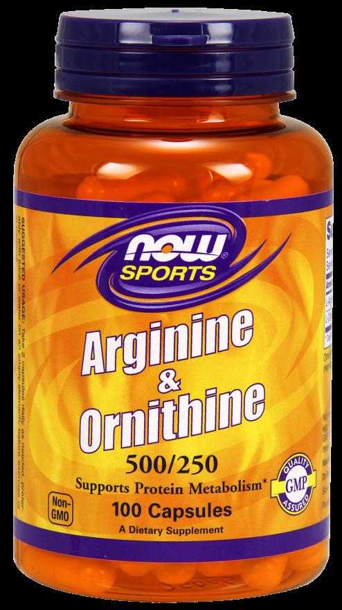 Now Arginine & Ornithine 500/250 mg 100 caps
