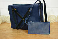 """Женская сумочка """"Крестик XL"""" (Синяя) + клатч в подарок!"""