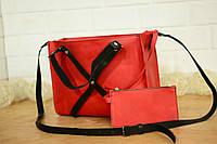 """Женская сумочка """"Крестик XL"""" (Красная) + клатч в подарок!"""