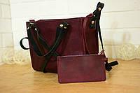 """Женская сумочка """"Крестик XL"""" (Бордо) + клатч в подарок!"""