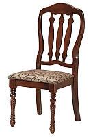 Стул Эллион, деревянный стул с мягким сиденьем ткань Дамаст, каркас каштан