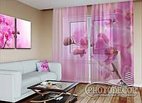 "Фото тюль ""Ветка розовой орхидеи"" (2,5м*1,50м, карниз 1м)"