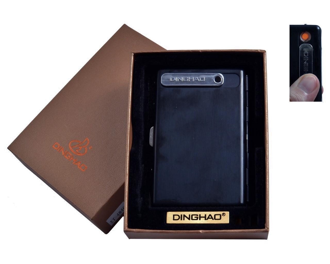 Портсигар с USB зажигалкой №4846 Black, вместимость 10 сигарет, спираль накаливания для прикуривания