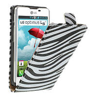 "Чехол книжка для  LG Optimus L5 II E460 / E450 ""Zebra Stripe"""