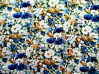 Ткань Цветы синие 150х150мм