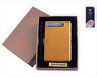 Портсигар с USB зажигалкой №4846 Gold, оригинальный и стильный гаджет, спираль накаливания, портсигар на 10