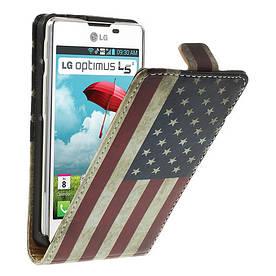 """Чехол книжка для  LG Optimus L5 II E460 / E450 """"Ретро флаг Америки"""""""