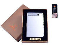 Портсигар с USB зажигалкой №4846 Silver, спираль накаливания, портсигар на 10 сигарет, оригинальное решение