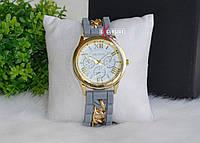 """Часы """"Geneva"""" серые с цепочкой."""