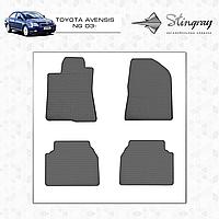 Комплект резиновых ковриков Stingray для автомобиля  TOYOTA AVENSIS NG 2003-    4шт.