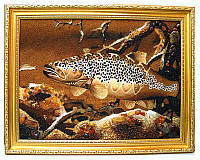 """Картина из янтаря """"Рыба"""", оригиальный подарок"""