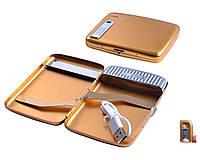 Портсигар с USB зажигалкой №4847 Gold, 20 сигарет, спираль накаливания работает в любую погоду, оригинально