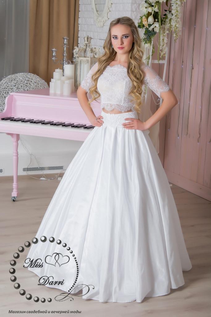 Свадебное платье кроп-топ+юбка