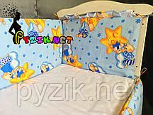 """Защита для детской кроватки 120х60 см, """"Мишки на луне"""" синяя"""