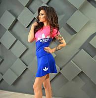 Костюм женский спортивный Adidas бифлекс (юбка-шорты и футболка)