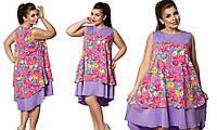 Батальное летнее короткое платье с цветочным рисунком . Цвета!