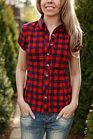 Рубашка женская в клеточку стильная короткий рукав