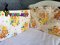 """Защита для детской кроватки 120х60 см, """"Мишки пчелки"""" бежевая, фото 1"""