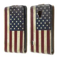 """Чехол книжка для  LG Optimus L7 P713 / P710 """"Ретро флаг Америки"""""""