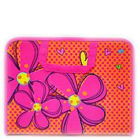 Папка портфель на молнии с тканевыми ручками Flowers