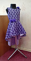 Стильное детское платье-маечка из фиолетового гипюра на 5-7 лет