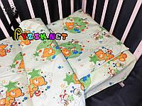 Постельный набор в детскую кроватку (3 предмета) Мишки Пчелки Зеленый