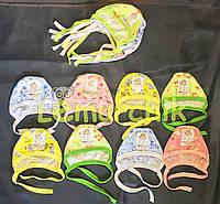 Шапочка-чепчик на завязочках кулир для новорожденного легкая