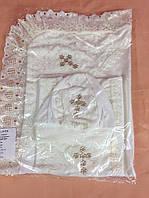 Крестильный набор Ангел (шапочка, сорочка, крыжма) молочного цвета